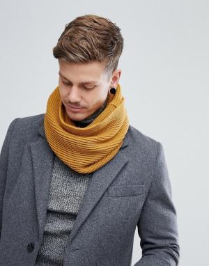 Dead Vintage Желтый шарф-снуд в рубчик. Цвет: желтый