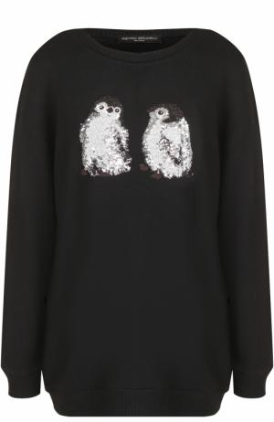 Пуловер свободного кроя с вышивкой Pietro Brunelli. Цвет: черный