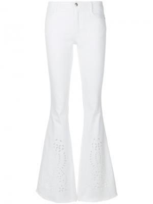 Расклешенные брюки с вышивкой Ermanno Scervino. Цвет: белый