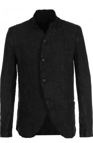 Однобортный льняной пиджак Masnada. Цвет: черный