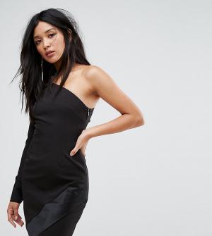 Vesper Платье мини на одно плечо с длинными рукавами и асимметричным краем Ve. Цвет: черный