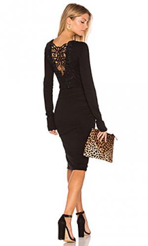 Кружевное платье с рюшами длинный рукав Pam & Gela. Цвет: черный