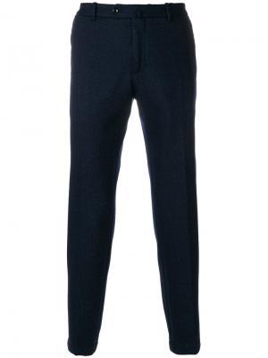Классические брюки с мелким узором Incotex. Цвет: синий