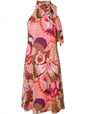 Платье с вырезом-халтер Trina Turk. Цвет: розовый и фиолетовый