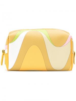 Косметичка с абстрактным принтом Emilio Pucci. Цвет: жёлтый и оранжевый