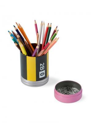 Настольный пенал Crayon Balvi. Цвет: черный, лиловый, светло-желтый