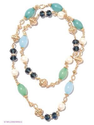Колье Milana Style. Цвет: светло-голубой, золотистый, темно-синий, морская волна