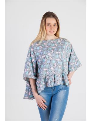 Блуза PONCHO Ням-Ням. Цвет: серый, голубой, розовый