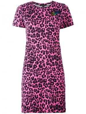 Платье-футболка с лоскутным узором Marc Jacobs. Цвет: розовый и фиолетовый