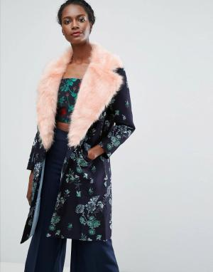 Endless Rose Жаккардовое пальто с контрастным искусственным мехом. Цвет: темно-синий