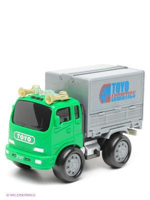 Игрушечная машинка Грузовик с подъемным боковым тентом Amico. Цвет: зеленый, серый, черный