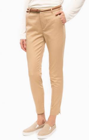 Бежевые хлопковые брюки с ремнем b.young. Цвет: бежевый