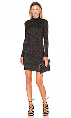 Мини платье с длинным рукавом и высоким воротом dacey Velvet by Graham & Spencer. Цвет: черный