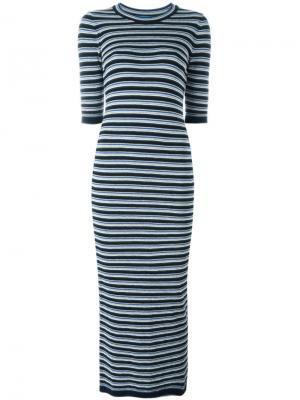 Полосатое платье миди Moonstone Mih Jeans. Цвет: синий
