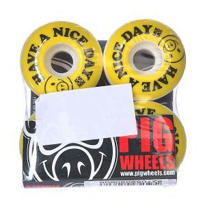 Колеса для скейтборда  Nice Day Yellow/Black 101A 55 mm Pig. Цвет: белый,желтый,черный