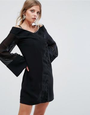 C/meo Collective Платье мини с широкими рукавами Presence. Цвет: черный