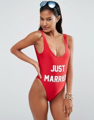Private Party Слитный купальник Just Married. Цвет: красный