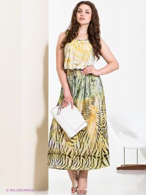 Платье МадаМ Т. Цвет: желтый, белый, зеленый