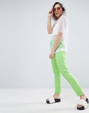ASOS Меланжевые спортивные штаны с боковыми молниями. Цвет: зеленый