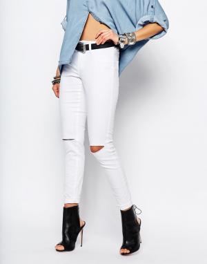 Noisy May Зауженные джинсы с высокой талией Devil. Цвет: белый