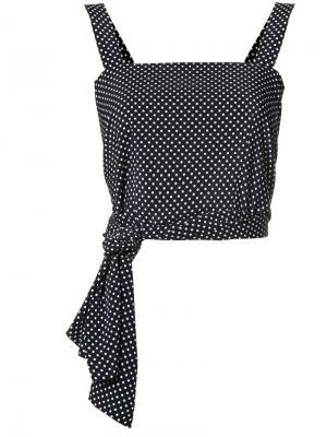 Укороченная блузка с завязками на талии Alexis. Цвет: чёрный