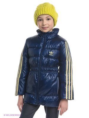 Пуховик LK DOWN JACKET Adidas. Цвет: темно-синий, желтый