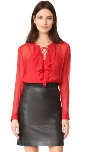 Блузка с рюшами спереди The Kooples. Цвет: красный