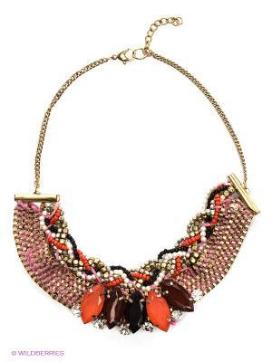 Ожерелье ГАНГ. Цвет: бордовый, золотистый, красный, черный
