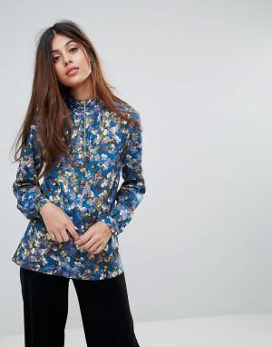 Closet London Блузка на молнии с цветочным принтом. Цвет: мульти