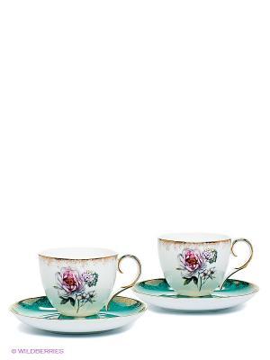 Чайный набор Цветок Неаполя (Pavone) Pavone. Цвет: белый, бирюзовый