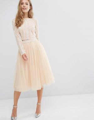 Maya Тюлевая юбка миди. Цвет: розовый