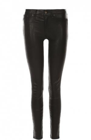 Кожаные брюки-скинни Rag&Bone. Цвет: черный