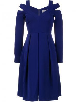 Платье с открытыми плечами Preen By Thornton Bregazzi. Цвет: синий