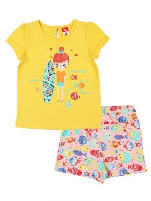 Комплект для  девочки (футболка,шорты) Cherubino. Цвет: желтый