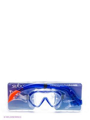 Набор (маска+трубка) Submarine. Цвет: синий, рыжий