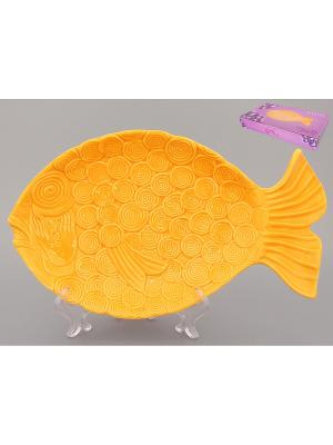 Тарелка-рыбка Оранжевая Elan Gallery. Цвет: оранжевый