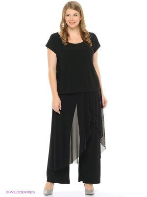 Брюки нарядные с юбкой и драпировкой из легкой ткани xLady. Цвет: черный