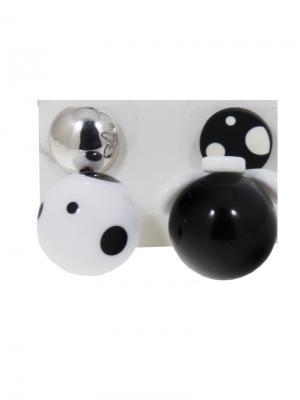Серьги Шар C4-C1109 Germes. Цвет: черный, белый