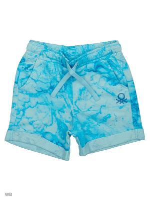 Бермуды United Colors of Benetton. Цвет: голубой, белый, синий