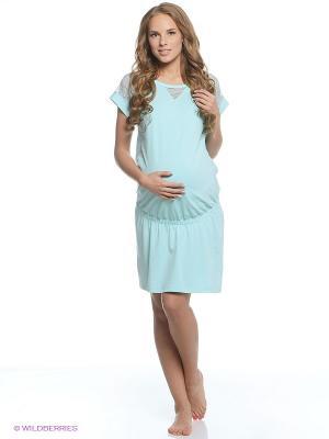 Платье домашнее для беременных Hunny Mammy. Цвет: бирюзовый