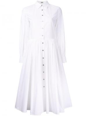 Расклешенное платье-рубашка Jourden. Цвет: белый