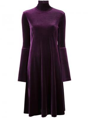 Расклешенное вязаное платье Le Ciel Bleu. Цвет: розовый и фиолетовый