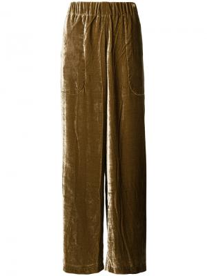 Бархатистые брюки-палаццо Uma Wang. Цвет: коричневый
