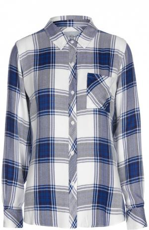 Блуза прямого кроя в клетку с накладным карманом Rails. Цвет: синий