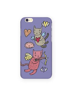Чехол для IPhone 6 Коты-амуры на сиреневом Mitya Veselkov. Цвет: фиолетовый, белый