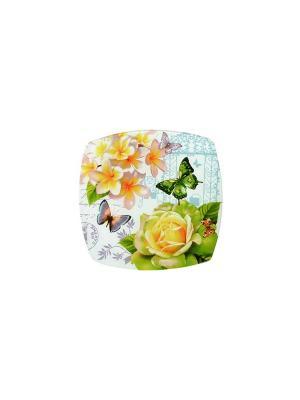 Тарелка квадратная  Июнь Elff Ceramics. Цвет: зеленый, желтый, белый