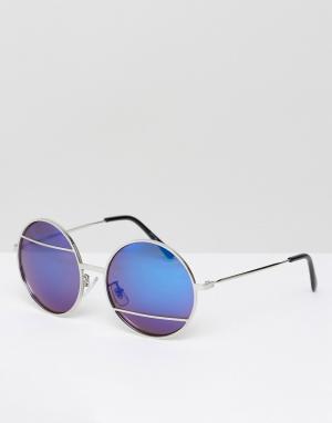 Jeepers Peepers Солнцезащитные очки с синими стеклами. Цвет: серебряный