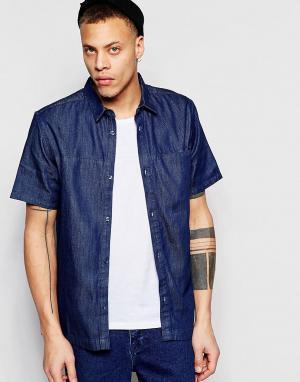 Waven Голубая классическая джинсовая рубашка с короткими рукавами Jose. Цвет: синий