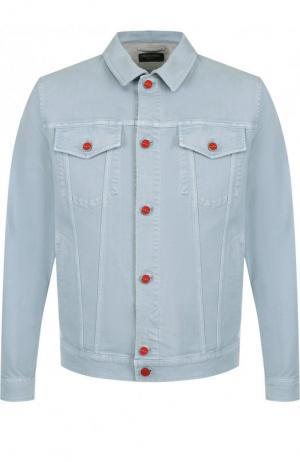 Джинсовая куртка с контрастными пуговицами Kiton. Цвет: светло-голубой