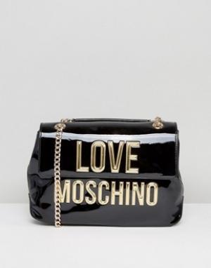 Love Moschino Лакированная сумка на плечо с логотипом. Цвет: черный